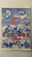 1952 Red Sox Program vs Browns (24 pg) Unscored Jun 11 WP Nixon vs Harrist (Bos 11-9, Satchel Paige losing pitcher) Excellent [No scoring, line score and game totals noted; very clean]