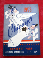 1953 White Sox Game Program vs Red Sox (24 pg) Scored June 14 - Pierce vs Grissom (Chi 6-0, HR Rivera) Excellent to Mint [Non-detailed scoring in pencil; lt toning on cover, contents fine]