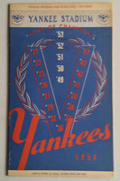 1954 Yankees Program vs White Sox (24 pg) Scored Jun 6 Larsen vs reynolds (NY 5-2, HR Mantle #10 Season, #67 Career) Excellent [Lt toning, Game Summary WRT on cover, neatly scored]