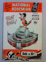 1954 Orioles Program DEBUT SEASON vs Red Sox (36 pg) Unscored Very Good [Lt wear on both covers, minor staining; contents fine]