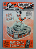 1954 Orioles Program DEBUT SEASON vs White Sox (36 pg) Scored April 15 - Turley vs Trucks (Bal 3-1, HR Courtney, Stephens) Excellent to Excellent Plus [Lt wear on both covers, nearly scored in pencil]