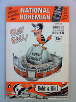 1954 Orioles Program DEBUT SEASON vs White Sox (36 pg) Scored August 17 - Kuzava vs Johnson (Chi 3-1, Kell 2 for 4) Very Good [Lt wear and creasing on both covers, sm cover tear; contents fine]