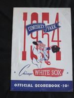 1954 White Sox Program vs Indians (28 pg) Scored July 2 - Trucks vs Feller (Cle 3-2, Feller CG, Doby HR) Good to Very Good [Lt vert compact fold line, wear on cover, stain on all pages]
