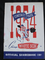 1954 White Sox Program vs Indians (28 pg) Scored September 4 - Harshman vs Wynn (Chi 8-5, HR Kell, Rosen) Very Good [Lt vert compact fold line, wear on cover, creasing]