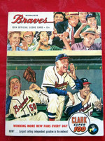 1954 Braves Game Program vs Phillies (20 pg) Scored July 22 - Burdette vs Dickson (MIL 3-2, HR Mathews #23) Excellent [Non-detailed scoring, lt wear on cover and minor split on binding]