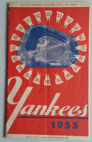 1955 Yankees Program vs Indians (24 pg) Scored Jun 26 Byrne vs Wynn (Cle 5-0 , HR Kiner) Very Good to Excellent [Very lt compact fold, overall clean]