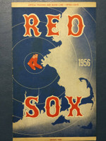 1956 Red Sox Program vs Indians (24 pg) Scored 7 INN Jul 15 Nixon vs Aguirre (Det 10-7, HR Gernert) Excellent [Lt wear on binding, ow very clean]