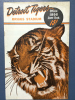 1956 Tigers Program vs Indians (24 pg) Scored 4 1/2 INN July 4 - Foytack vs Score (Cle 6-4, HR Wertz #18) Very Good to Excellent [Toning on edges of front and back cover, contents very clean]