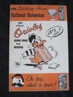 1956 Orioles Program vs Indians (20 pg) Unscored Very Good to Excellent [Sl fraying on edges, ow sharp]