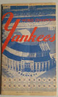 1957 Yankees Program vs Senators (24 pg) Partial Scored 8 INN Apr 16 Opening Day Ford vs Stobbs (NY 2-1, HR Berra) Excellent [Non detailed scoring, lt wear, overall clean]