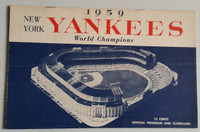 1959 Yankees Program vs Athletics (24 pg) Scored May 17 Larsen vs Daley (NY 3-2, Bauer walk-off hit) Near-Mint [Very lt wear, neatly scored]