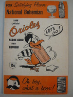 1956 Orioles Program vs Red Sox (20 pg) Scored May 30 Moore vs Delock Good to Very Good [Heavy wear on cover, compact folds; scored in pen]