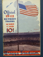 1942 Tigers Scorecard vs Red Sox (8 pg) Scored 4 1/2 INN May 17 - Bridges vs Newsome (Det 4-3, Ted Williams 2 for 3) Very Good [Wear along binding, contents nice, non-detailed scoring]
