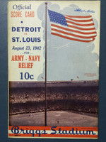 1942 Tigers Scorecard vs Browns (8 pg) Scored August 23 - Trout vs Muncrief (Stl 4-2, Trout CG) Excellent [Lt wear on binding, ow very clean, non-detailed scoring]