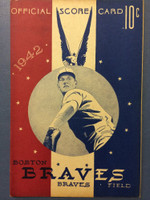 1942 Braves Program vs Dodgers (16 pg) Unscored Excellent to Mint [Lt handling, otherwise very sharp]