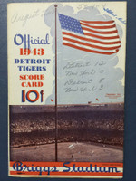 1943 Tigers Scorecard vs Yankees (8 pg) Scored August 22 - Trout vs Wensloff (Det 12-0, Trout CG SHO) Excellent [Game notations on cover, non-detailed scoring]