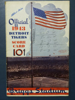 1943 Tigers Scorecard vs White Sox (8 pg) Scored August 8 - Trucks vs Lee (Det 8-2, York 2 HR) Good [Wear along binding, stray writing on cover and inside, non-detailed scoring]