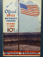 1943 Tigers Scorecard vs Athletics (8 pg) Scored 4 1/2 INN August 17 - Trout vs Flores (Det 4-3, Trout 14-9) Very Good to Excellent [Lt wear on binding, pen mark on cover, non-detailed scoring]