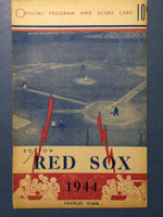1944 Red Sox Program vs Yankees (16 pg) Unscored Very Good [Binding partially split, sl toning; overall very clean]