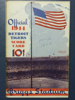1944 Tigers Scorecard vs Yankees (8 pg) Scored July 30 - Overmire vs Borowy (NY 10-2, Borowy CG 13-6) Very Good to Excellent [Lt wear on binding, INCORRECT game notations on cover, non-detailed scoring]