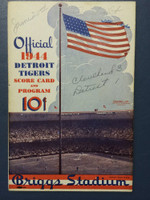 1944 Tigers Scorecard vs Indians (8 pg) Scored 4 INN June 20 - Trout vs Reynolds (Cle 3-1, Reynolds CG) Very Good to Excellent [Game notations on cover, non-detailed scoring]