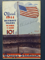 1944 Tigers Scorecard vs Athletics (8 pg) Scored July 23 - Gorsica vs Black (Phi 13-3, Kell 2 for 6) Excellent [Game notations on cover, ow very clean]