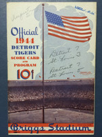 1944 Tigers Scorecard vs Browns (8 pg) Scored June 18 - Newhouser vs Kramer (Det 7-3, Newhouser CG) Very Good to Excellent [Lt wear on binding, INCORRECT game notations on cover, non-detailed scoring]