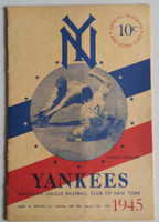 1945 Yankees Program vs Red Sox (16 pg) Unscored Very Good to Excellent [Sl tear on back cover, lt wear ow very clean]