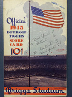 1945 Tigers Scorecard vs Yankees (8 pg) Scored July 8 - Trout vs Borowy (NY 8-6, HR Greenberg #3) Excellent [Game notes in pencil on cover; non detailed scoring]