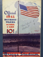 1945 Tigers Scorecard vs Yankees (8 pg) Scored 5 INN July 6 - Overmire vs Bevens (NY 5-4, Bevens CG) Excellent [Game notes in pencil on cover; non detailed scoring]