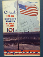 1945 Tigers Scorecard vs Red Sox (8 pg) Scored July 4 - Trout vs Ferriss (Bos 4-3, HR Mayo, Greenberg #2) Excellent [Game notes in pencil on cover; non detailed scoring]