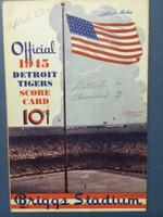 1945 Tigers Scorecard vs Indians (8 pg) Scored 4 INN April 22 - Trout vs Reynolds (Det 6-3, Trout CG 2-0) Excellent [Game notes in pencil on cover; non detailed scoring]