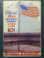 1945 Tigers Scorecard vs Indians (8 pg) Scored 4 1/2 INN September 2 - Mueller vs Bagby (Cle 3-2, Greenberg 1 for 3) Excellent [Very clean; non detailed scoring]