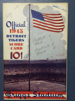1945 Tigers Scorecard vs Athletics (8 pg) Scored August 19 - Trout vs Black (Det 6-1, HR Greenberg #6) Very Good to Excellent [Game notes in pencil on cover plus stray markings; non detailed scoring]