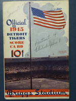 1945 Tigers Scorecard vs Athletics (8 pg) Scored June 30 - Mueller vs Newsom (Det 4-1, Newhouser Save) Excellent [Game notes in pencil on cover; non detailed scoring]