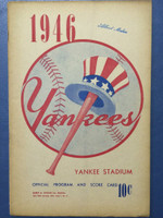 1946 Yankees Program vs Indians (16 pg) Scored May 1 - Ruffing vs Reynolds (NY 6-3, HR Henrich) Excellent [Sl split on binding, ow clean]