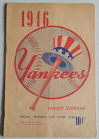 1946 Yankees Program vs Tigers (16 pg) Scored Jun 12 Page vs Trout (Det 6-5, DiMaggio 1 for 4) Very Good to Excellent [Binding about 1/2 split but intact, ow clean]