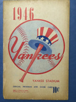 1946 Yankees Program vs Tigers (16 pg) Unscored Good to Very Good [Binding mostly split, some chipping, wear, WRT on reverse cover]