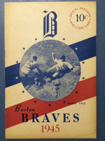 1945 Braves Program vs Phillies - 16 pg Unscored Very Good [Sm tear on cover, ow very clean]