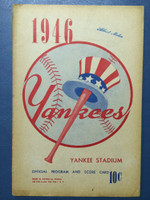 1946 Yankees Program vs Tigers (16 pg) Unscored Very Good to Excellent [Sl vert  compact fold, sl toning and chipping]
