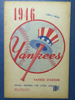 1946 Yankees Program vs Tigers (16 pages) Unscored Excellent [Sl crease on cover, sl toning, ow very clean]