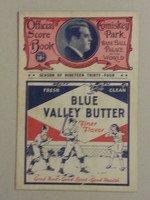 1934 White Sox Gam Program vs Indians Scored Excellent
