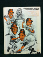 1974 Orioles Game Program vs Red Sox Unscored (Brooks Cover) Near-Mint