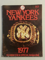 1977 Yankees Game Program vs Brewers Scored Good to Very Good