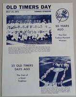1971 Yankees Old Timer's Day Program (4 pg) Jul 10 - DiMaggio, Mantle, Stengel, Dickey, Gomez, Ford Near-Mint to Mint