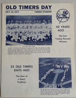 1971 Yankees Old Timer's Day Program (4 pg) Jul 10 - DiMaggio, Mantle, Stengel, Dickey, Gomez, Ford Near-Mint