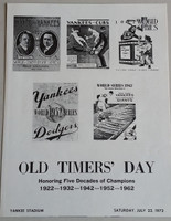 1972 Yankees Old Timer's Day Program (4 pg) Jul 22 - DiMaggio, Mantle, Dickey, Berra, Ford, Jackie Robinson (died Oct '72), Casey Stengel, Stan Musial Near-Mint to Mint