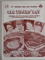 1973 Yankees Old Timer's Day Program (4 pg) Aug 11 - DiMaggio, Mantle, Dickey, Ford, Red Ruffing, Casey Stengel Near-Mint to Mint