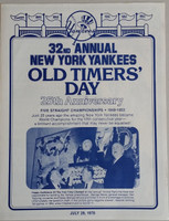 1978 Yankees Old Timer's Day Program (4 pg) Jul 29 - DiMaggio, Mantle,  Ford, Roy Campanella, Yogi Berra, Roger Maris, Junior Gilliam (died Oct '78) Near-Mint to Mint