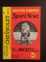 1953 NHL Boston Bruins Game Program vs Canadiens November 22 Nov 22 1953 Very Good to Excellent [[3 Hole Punches on left side, contents fine]]